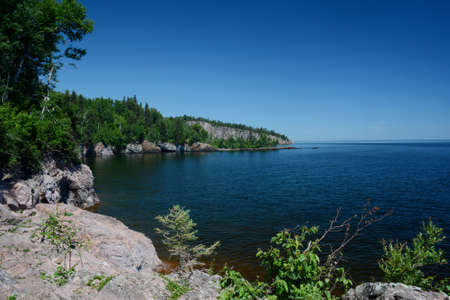 Bright summer panoramic of the scenic  north shore of Lake Superior, from  Tettegouche State Park in Minnesota.
