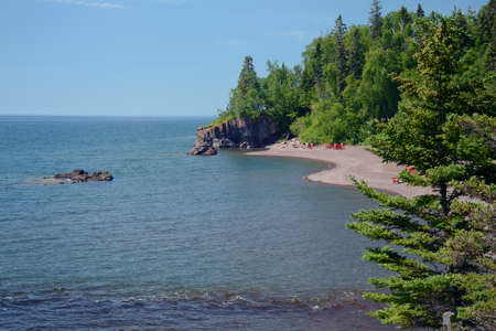 Sunny summer vista at the Lutsen Beachfront Resort, along the north shore of Lake Superior in Minnesota.