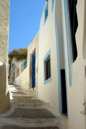 A narrow street on the Greek island of Santorini