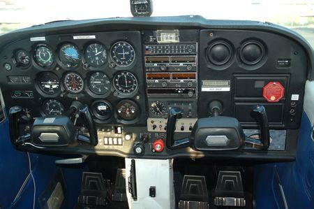 Cockpit of a private plane Фото со стока