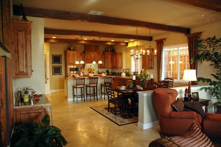 북부 캘리포니아에서 새로운 개발에 현대 부엌 현대 거실 설정