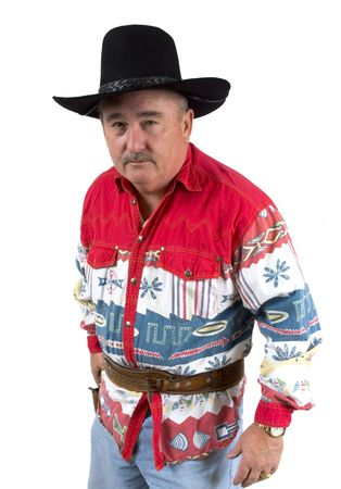 opponent: Old cowboy staring down opponent ready to draw revolver on a white background