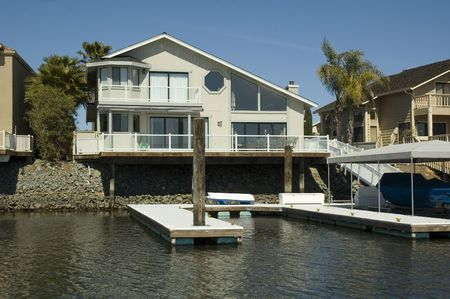 california delta: Stylized home in a housing commuinity in Northern California with waterfront access to the delta