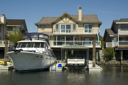 california delta: Waterfront home in a housing commuinity in Northern California with access to the delta, and huge boat in dock