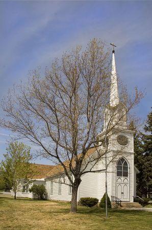 carson city: small cute white church in Carson City,  Nevada with steeple Stock Photo