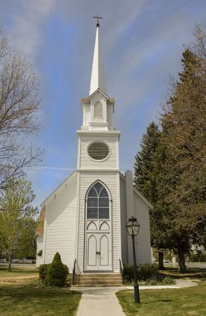 house of worship: small cute white church in Carson City,  Nevada with steeple Stock Photo