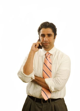 Young serious businessman on cell phone isolated Stock Photo - 930794