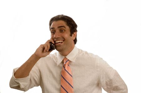 Young laughing businessman on cell phone isolated photo
