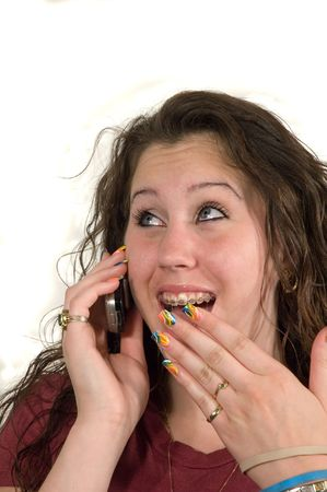 Caucasian Teenage girl on cell phone Stock Photo - 1006081