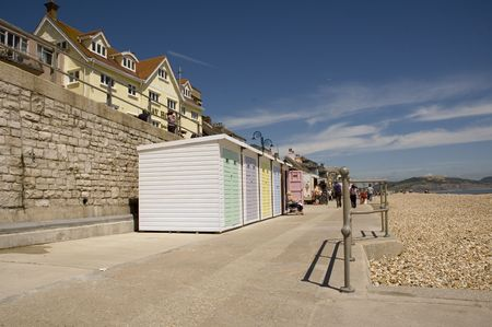 lyme: colorful beachfront changing cabins at Lyme Regis in Dorset