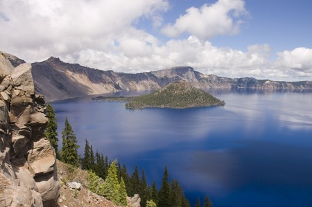 View of Crater Lake a caldera left after Mount Mazama blew
