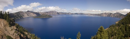 crater lake: Panorama of the entire lake at Crater lake in Oregon Stock Photo