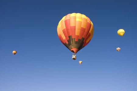 inflated: One of the many balloons at the Taos balloon festival being inflated at dawn Stock Photo