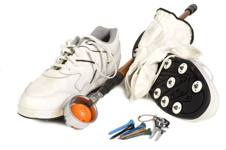 Group of golf accesories including shoes, with metal spikes, ball retriever, divit fixer, ball, tee's, glove and ball marker