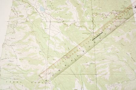 topographical: Topographical map and ruler using 300mm scale to determine position latitudinally