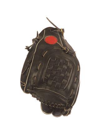Black baseball glove isolated over a white background