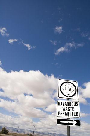 hazardous waste: A hazardous waste roadsign in california Stock Photo