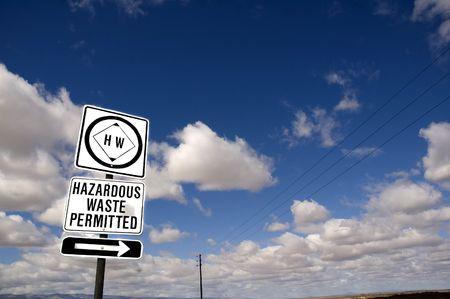 hazardous waste: Hazardous waste road sign