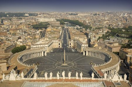 View from the top of St. Peters Basilica in ROme.