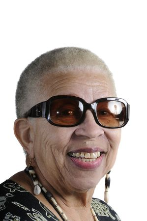 Attractive Elderly African American Woman isolated on white Stock Photo - 2257186