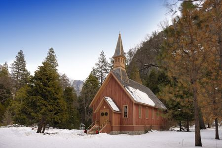 A small church in the forest inside Yosemite National Park