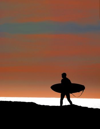 ultimate: Surfer walking the cliffs in the sunset for a last run Stock Photo