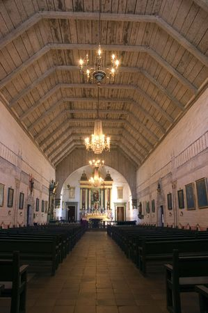 spaniards: inside the historic Chapel at Mission San Jose, one of the missions created by the spaniards as they moved up the coast of California
