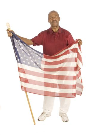 African American patriot with flag isolated over white photo