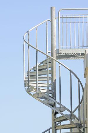 Spiral metal staircase Stock Photo