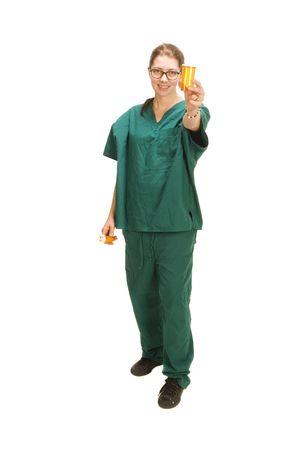 nursing bottle: female nurse with specimin bottle,  isolated on white