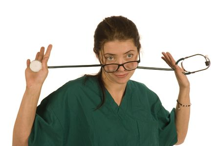 Nurse with stethoscope over shoulder and glasses on isolated over white Stock Photo - 2614533