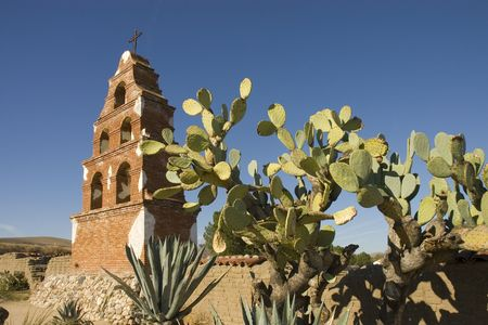 Belltower at the spanish mission of San Miguel on the Camino Real in Central California