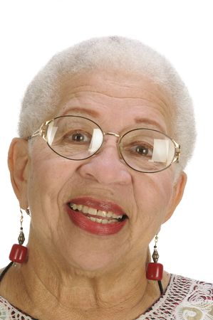 Attractive Elderly African American Woman isolated on white photo