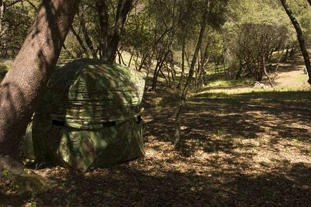 Hunting blind in a typical setup under a tree with shadow s cast across it so as to make it less visible