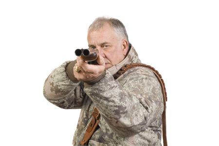 point and shoot: Hunter disparo a meta con un doble ca��n al lado de la otra escopeta calibre 20 aislados en blanco  Foto de archivo