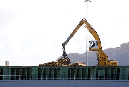 Loading ship with logs Archivio Fotografico