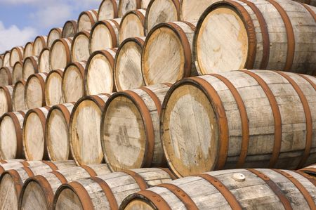 aging american: American oak Bourbon Barrels used at a distillery in Scotland to mellow the Scotch Stock Photo