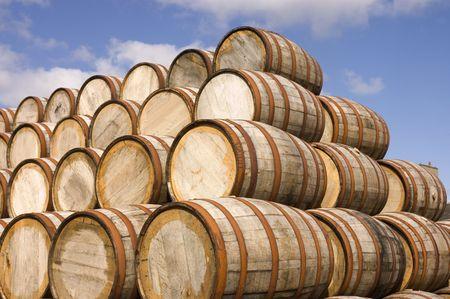 bourbon: american oak bourbon barrels at a distillery in Scotland Stock Photo