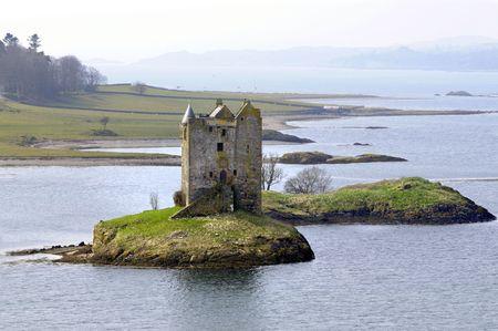 ruins of Castle Stalker in Scotland photo