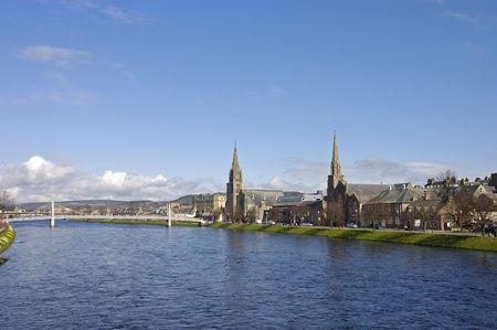 Churches along the river Ness in the  of Inverness, Scotland Stock Photo