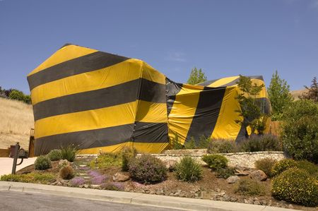 stoneworks: home in Northern California tented for termite eradication