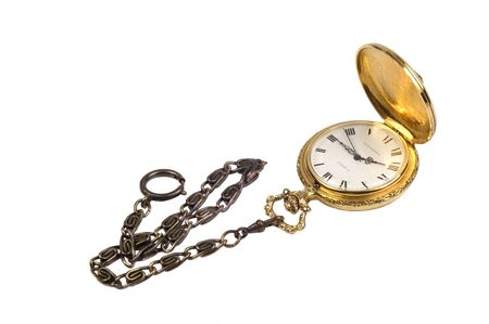 Gold Fob Watch with antique brass chain on a white background photo
