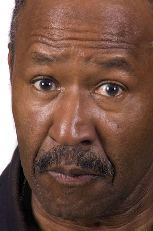 liesure: African american senior citizen looking surprised