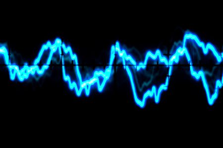 Electric Blue Oscilloscope trace to music photo
