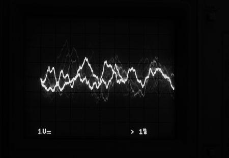 Monochrome Oscilloscope trace to music Stok Fotoğraf