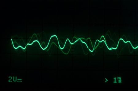 audiowave: Green Oscilloscope trace to music Stock Photo