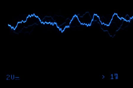 Blue Oscilloscope trace to music