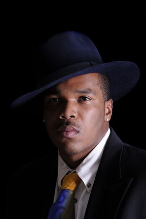 young African American man in a hat and suit Stock Photo - 3527911