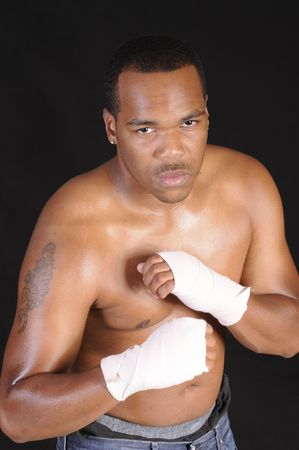 young African American man during boxing workout Stock Photo - 3527949