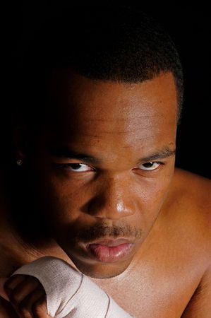 pugilist: African American boxeador calentando Foto de archivo